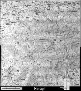 Rute peta Jalur Pendakian dan Topografi Gunung  Merapi Sumatra