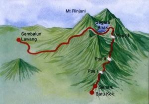 Rute peta Jalur Pendakian dan Topografi Gunung Rinjani
