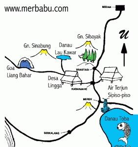 Rute peta Jalur Pendakian dan Topografi Gunung Sinabung - Sibayak